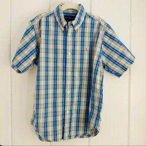 RALPH LAUREN Boys Plaid Short Sleeve Shirt